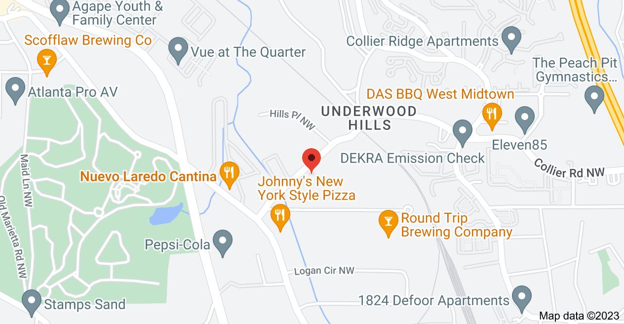 Map of 1376 Collier Rd NW, Atlanta, GA 30318