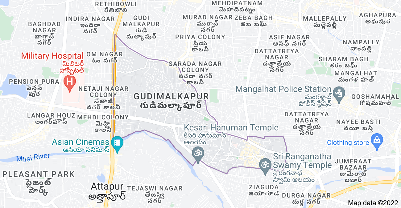 Map of Karwan, Hyderabad, Telangana, India