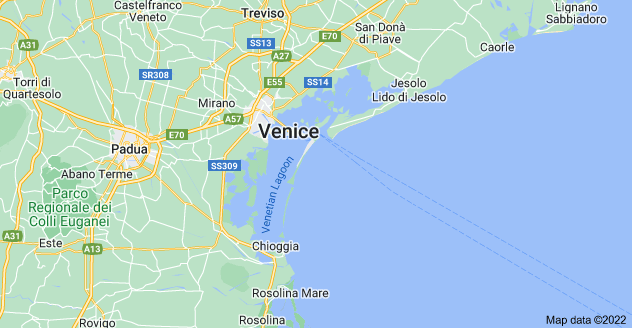 Map of Venetian Lagoon, Metropolitan City of Venice, Italy