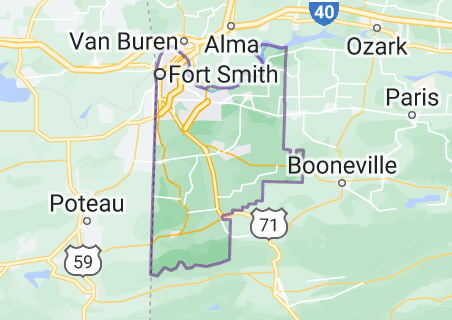 Map of Sebastian County