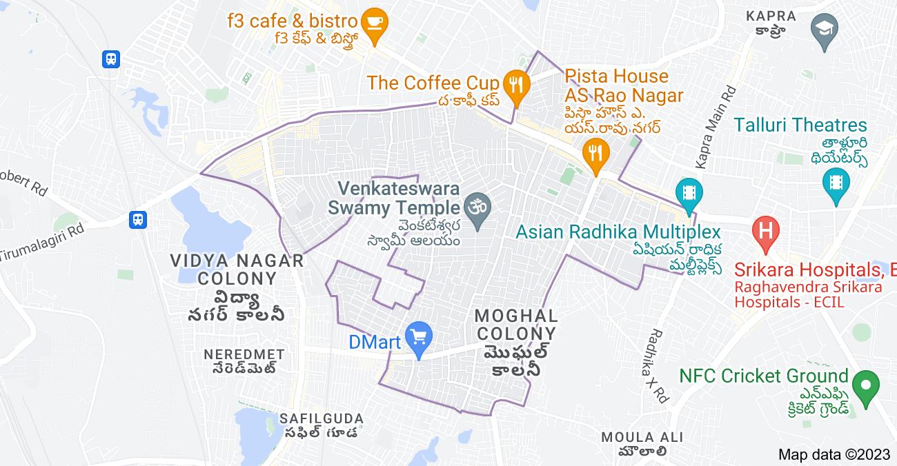 Map of A. S. Rao Nagar, Secunderabad, Telangana, India