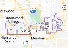 Map of Centennial, Colorado