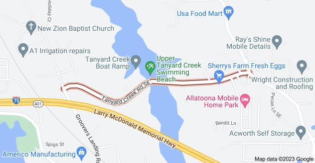 Map of Tanyard Creek Rd SE, Acworth, GA 30102