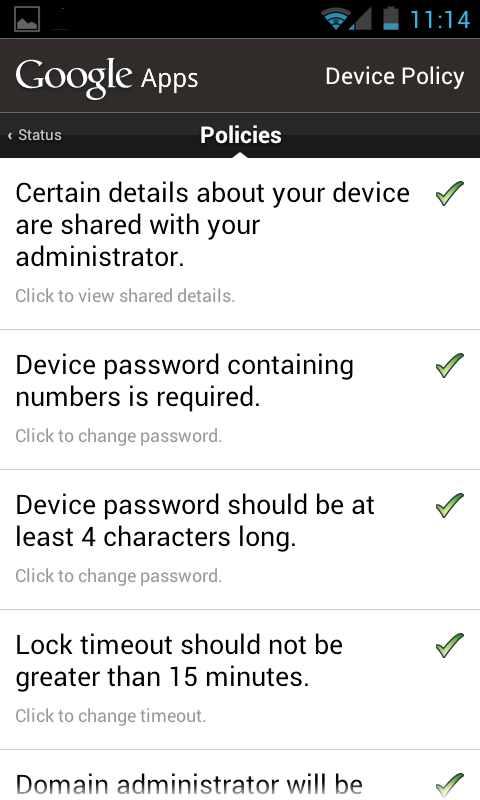 Android Device Policy app showing Policies being enforced on the device