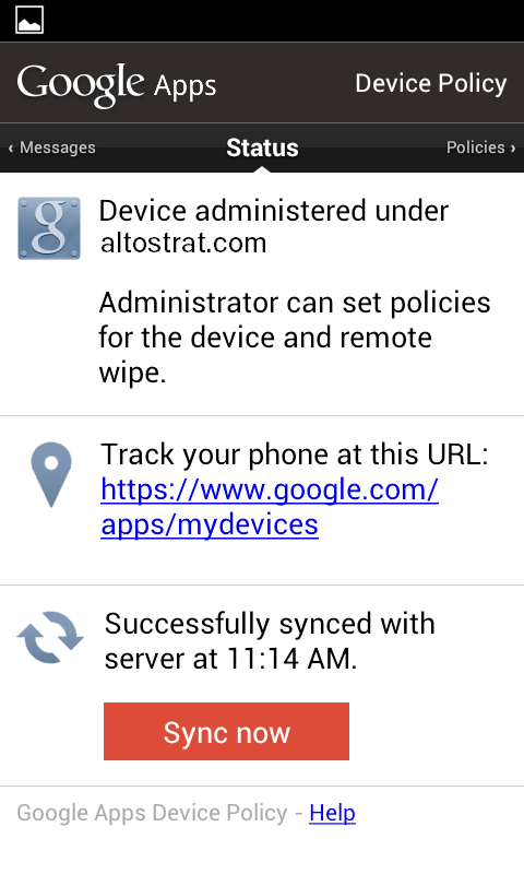 Android Device Policy app status screen showing that the device is successfully syncing